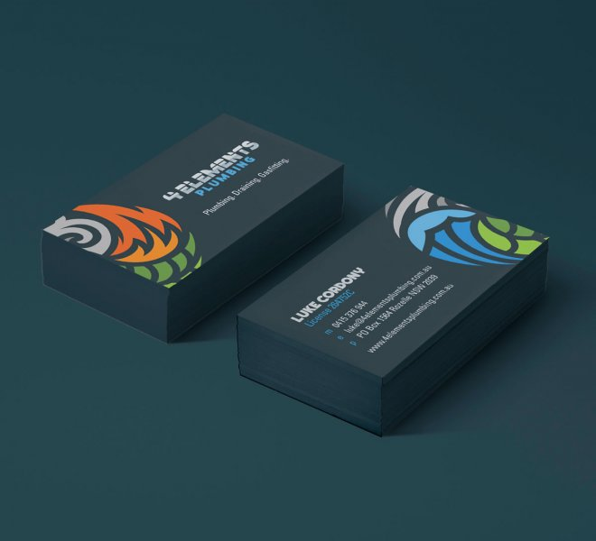 4 Elements Plumbing Business Cards are another example of logo, graphic and website design for electricians plumbers and all trades