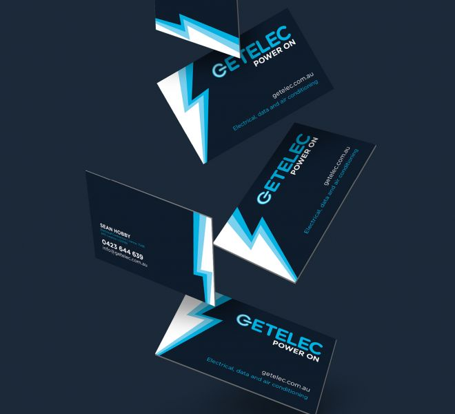 Getelec Business Cards are another example of logo, graphic and website design for electricians plumbers and all trades
