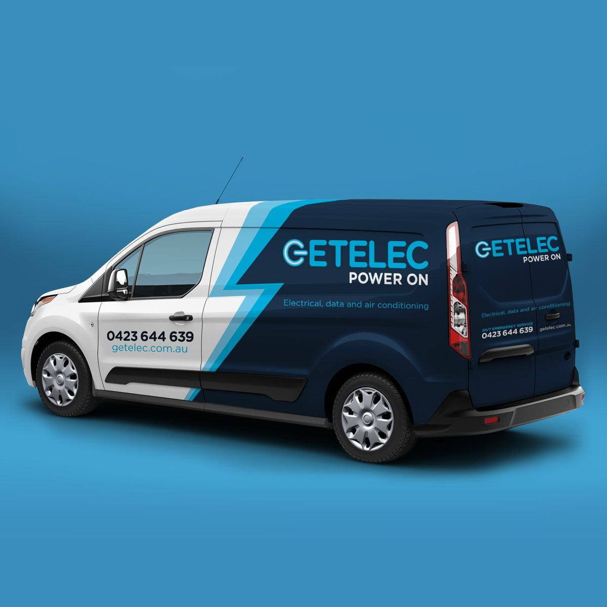 Getelec vehicle decal is another example of logo, graphic and website design for electricians plumbers and all trades