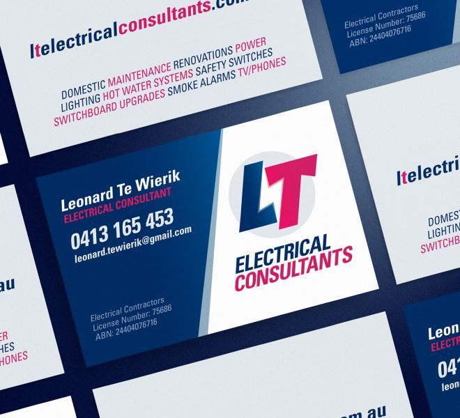 LT Electrical Consultants business cards are a perfect example of logo, graphic and website design for electricians plumbers and all trades